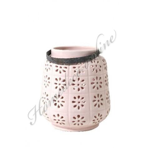 Windlicht bloemmotief licht roze Ø21-H23 cm