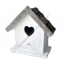 Vogelhuisje wit met hout hart 21x18 cm
