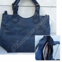 "Tas korenvlecht ""bag in bag"" blauw 34x27 cm"