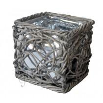Windlicht gevlochten hout vierkant met zilver glas