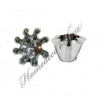Theelichthouder glazen bloem zilver/wit