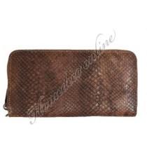 Portemonnee/clutch met slangen print en ritssluiting 20x10 cm inclusief hand hengsel