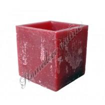 Mooie vierkanten kaarsen windlicht rood 10x10 cm