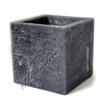 Mooie vierkanten kaarsen windlicht zwart 10x10 cm
