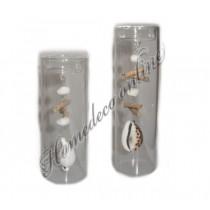 Theelichthouder glas met schelpen aan de binnenzijde groot