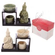 Oliebrander Boeddha groen 15,5x8x12,5 cm