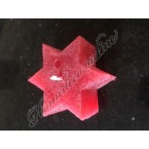 Kaars ster rood klein 9x4 cm