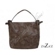 """Tas ster met binnentas """"bag in bag"""" taupe 39x28 cm"""