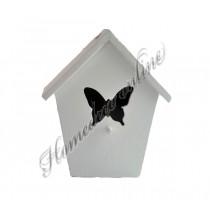 Vogelhuisje wit vlinder klein